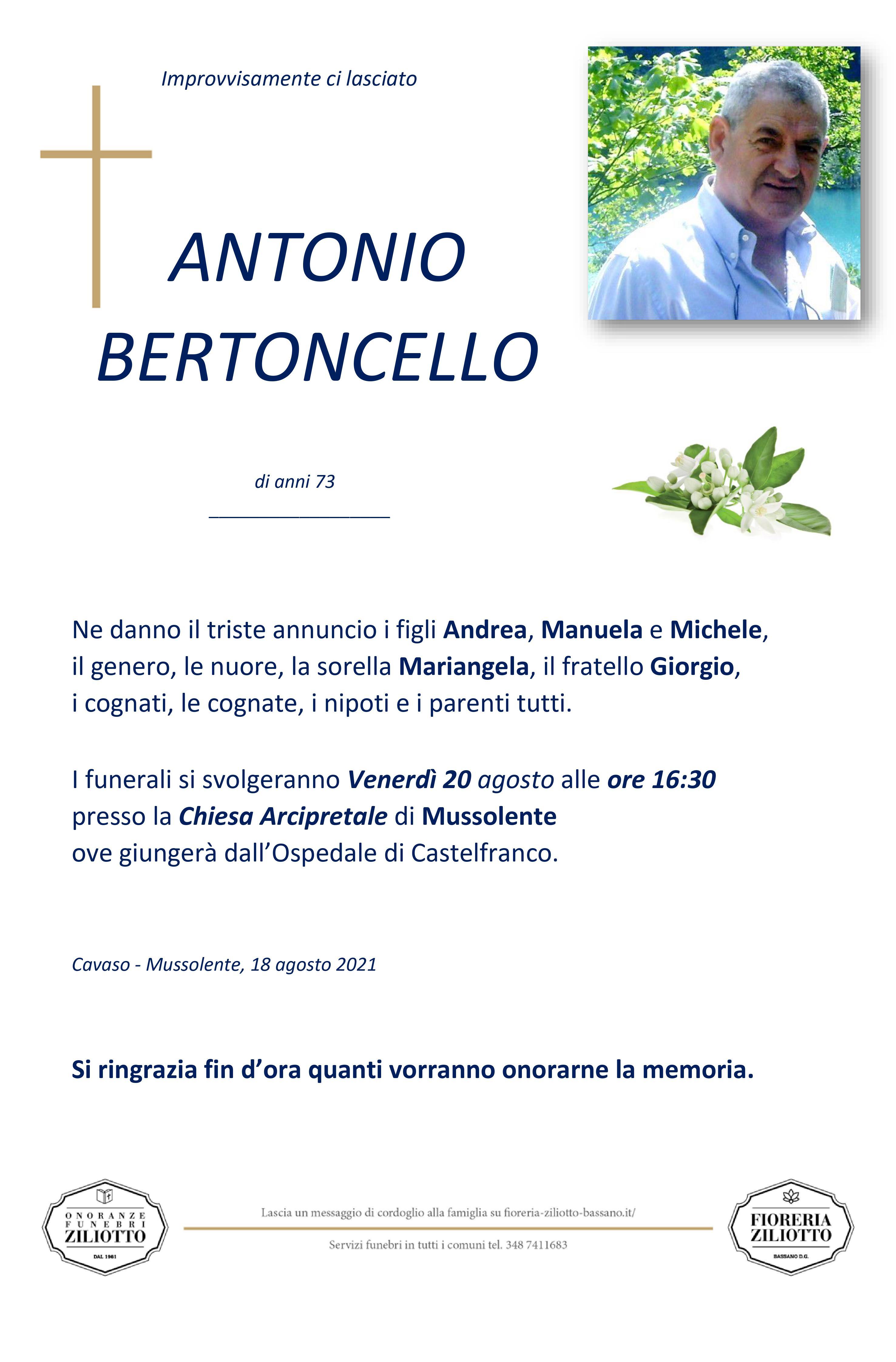 Bertoncello Antonio - 73 anni - Cavaso del Tomba